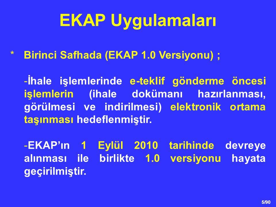 EKAP Uygulamaları * Birinci Safhada (EKAP 1.0 Versiyonu) ;