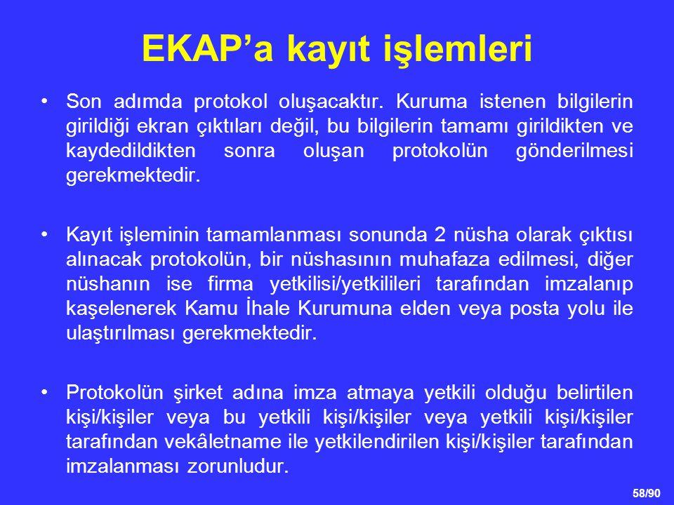 EKAP'a kayıt işlemleri