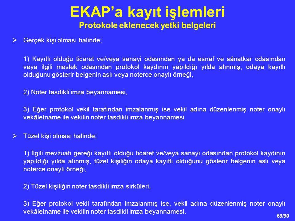 EKAP'a kayıt işlemleri Protokole eklenecek yetki belgeleri