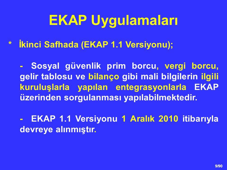 EKAP Uygulamaları * İkinci Safhada (EKAP 1.1 Versiyonu);