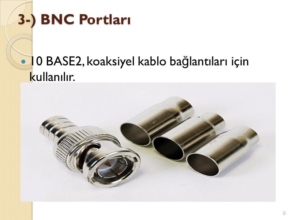 3-) BNC Portları 10 BASE2, koaksiyel kablo bağlantıları için kullanılır.