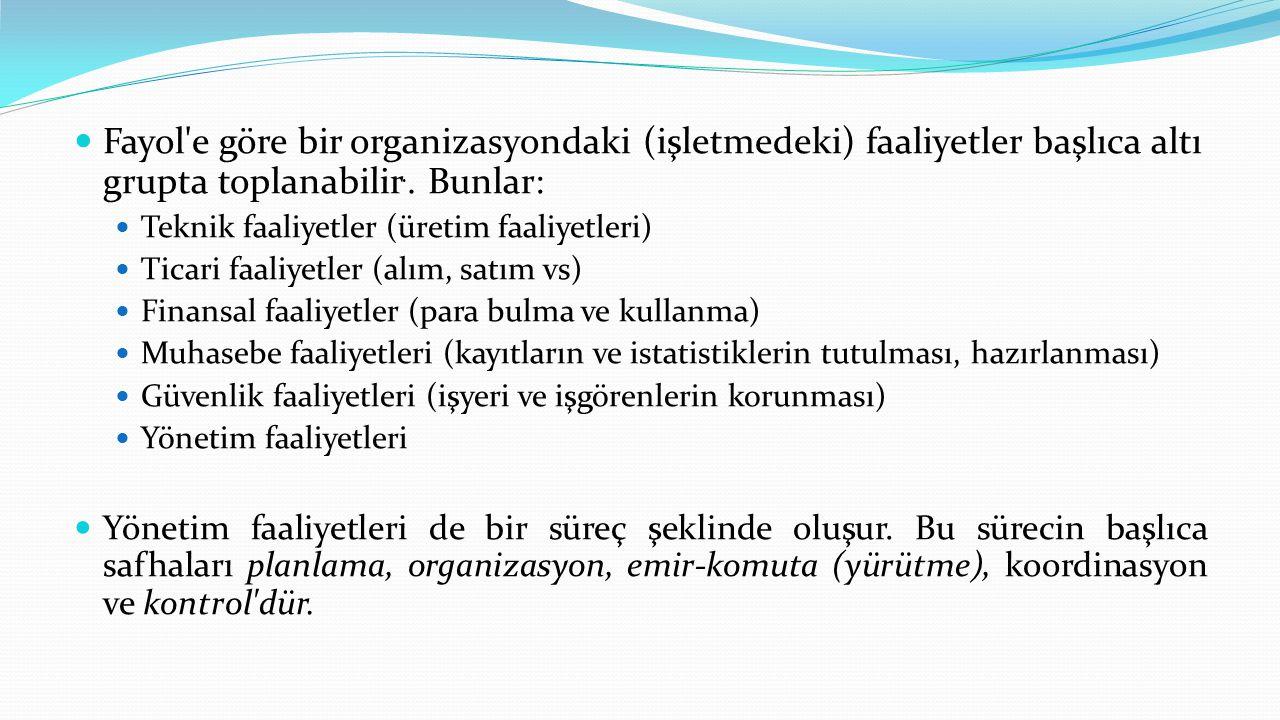 Fayol e göre bir organizasyondaki (işletmedeki) faaliyetler başlıca altı grupta toplanabilir.. Bunlar: