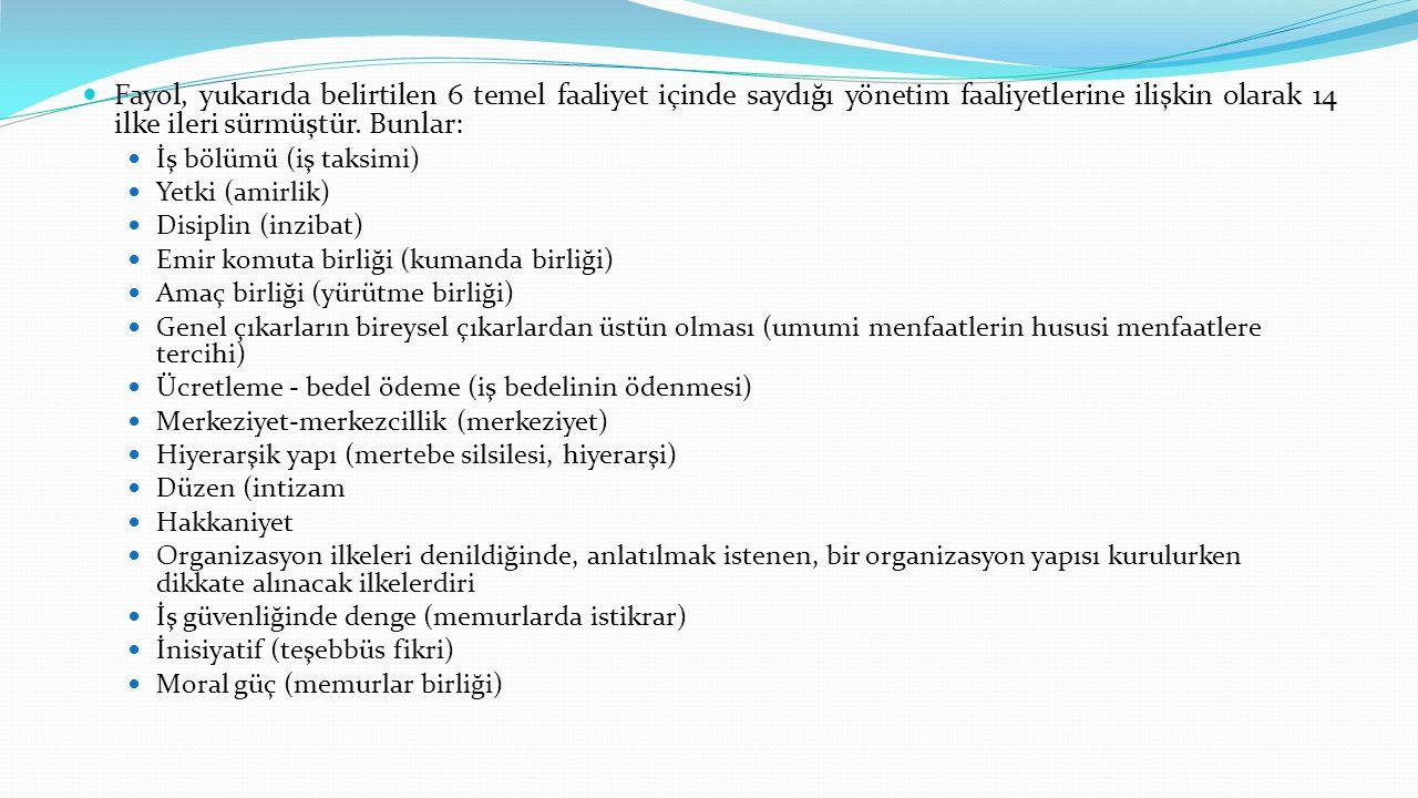 Fayol, yukarıda belirtilen 6 temel faaliyet içinde saydığı yönetim faaliyetlerine ilişkin olarak 14 ilke ileri sürmüştür. Bunlar: