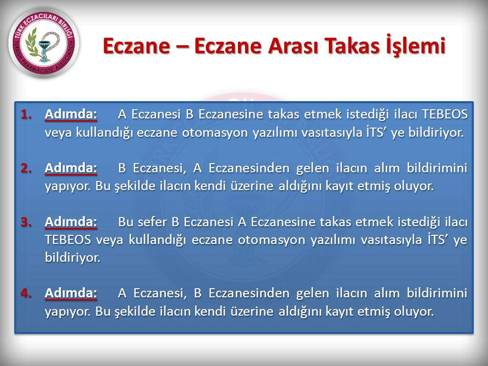 Eczane – Eczane Arası Takas İşlemi