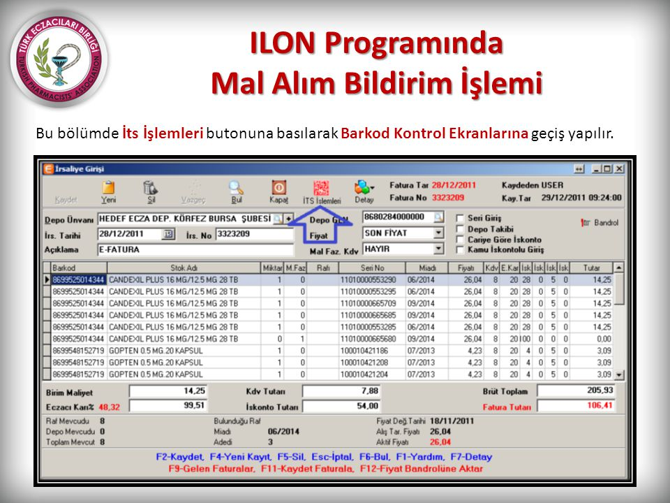 ILON Programında Mal Alım Bildirim İşlemi