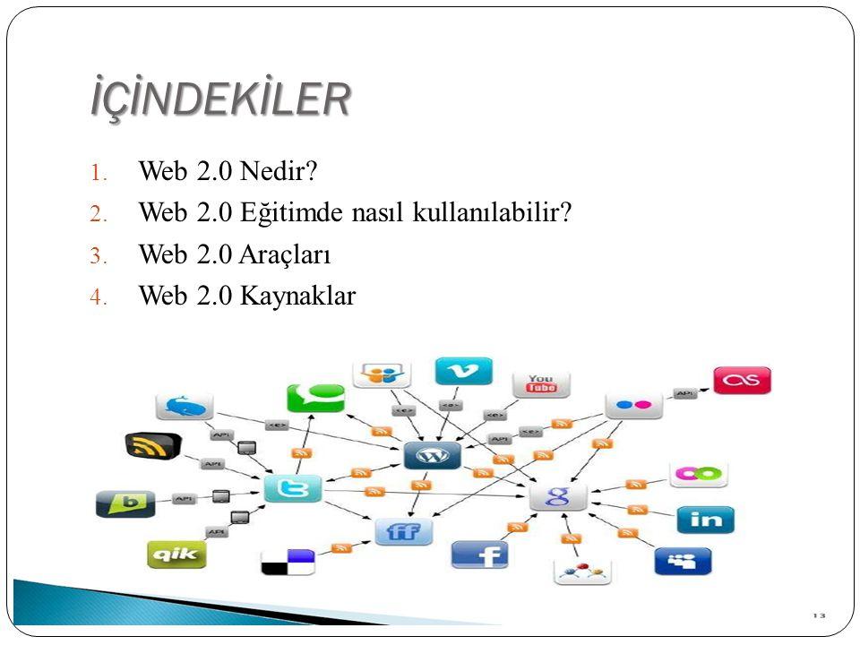 İÇİNDEKİLER Web 2.0 Nedir Web 2.0 Eğitimde nasıl kullanılabilir