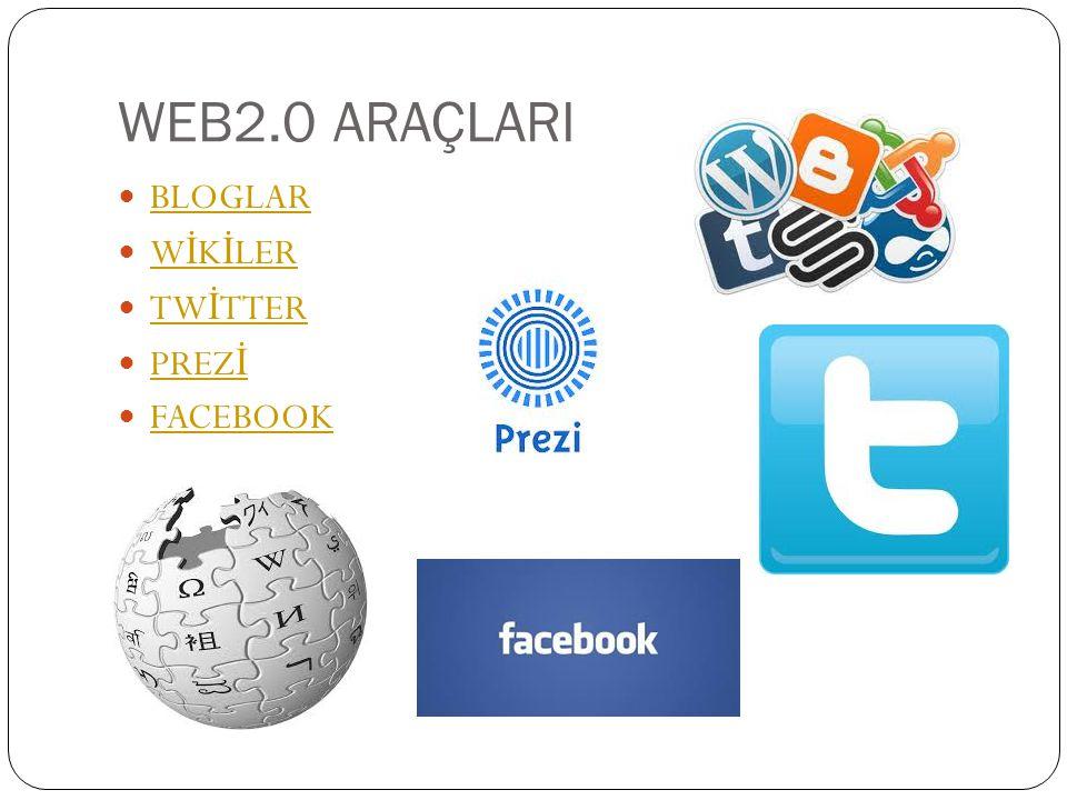 WEB2.0 ARAÇLARI BLOGLAR WİKİLER TWİTTER PREZİ FACEBOOK