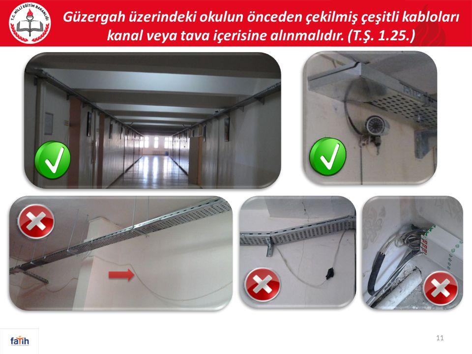 Güzergah üzerindeki okulun önceden çekilmiş çeşitli kabloları kanal veya tava içerisine alınmalıdır.