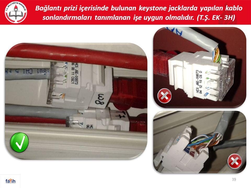 Bağlantı prizi içerisinde bulunan keystone jacklarda yapılan kablo sonlandırmaları tanımlanan işe uygun olmalıdır.