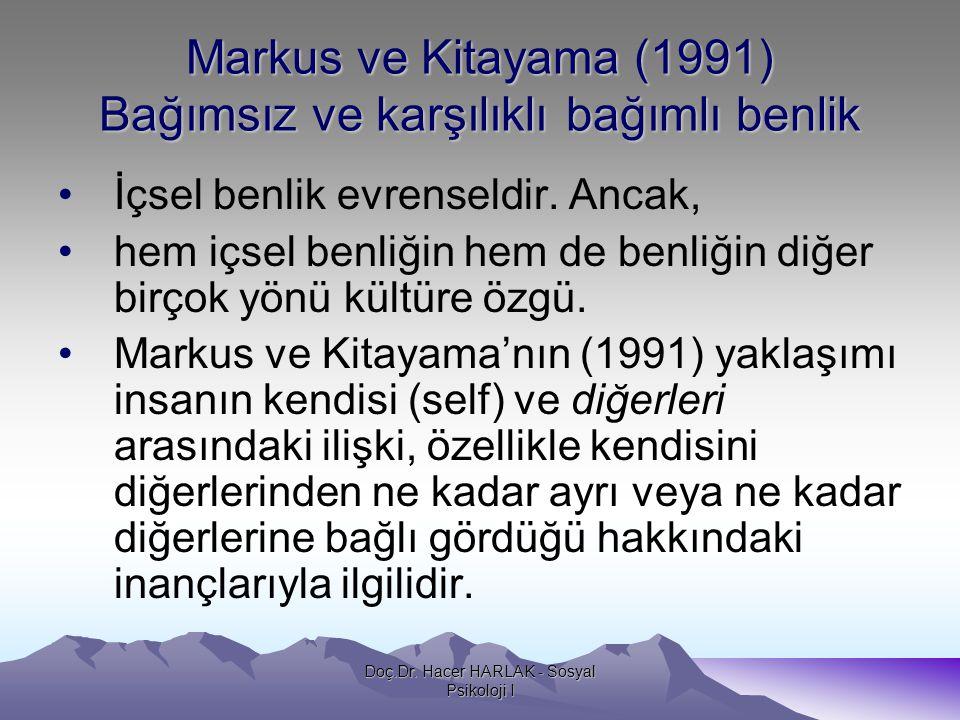 Markus ve Kitayama (1991) Bağımsız ve karşılıklı bağımlı benlik