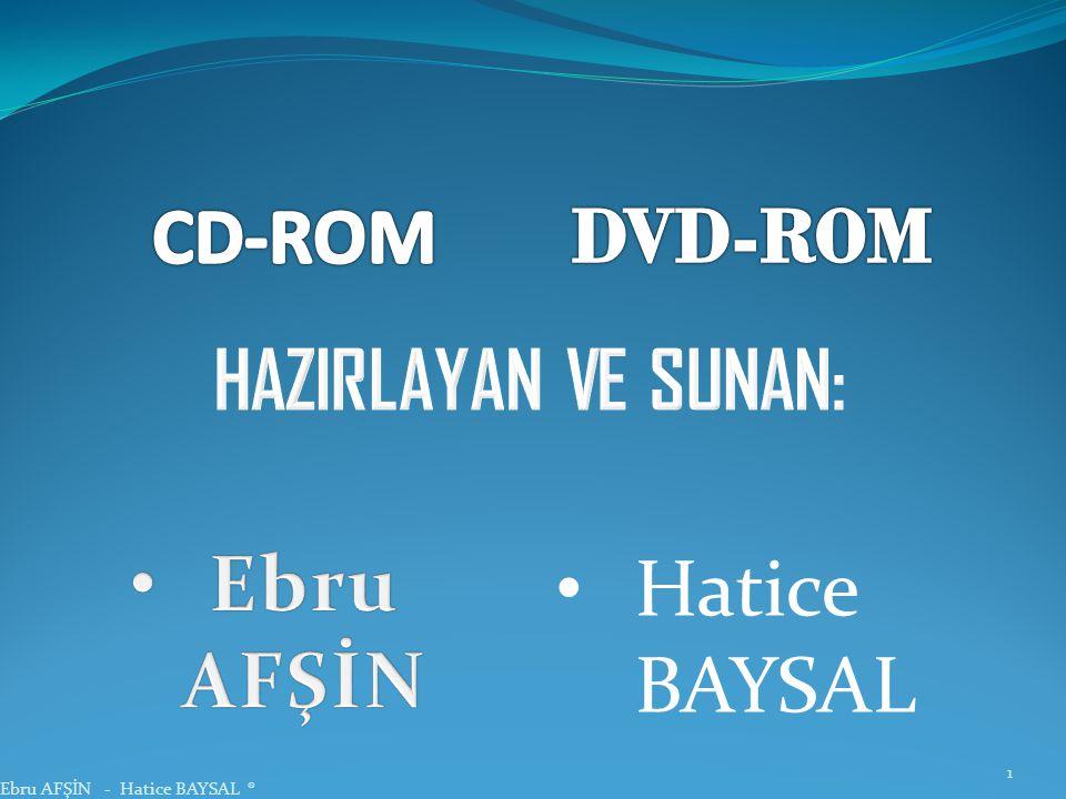 CD-ROM DVD-ROM HAZIRLAYAN VE SUNAN: Ebru AFŞİN Hatice BAYSAL
