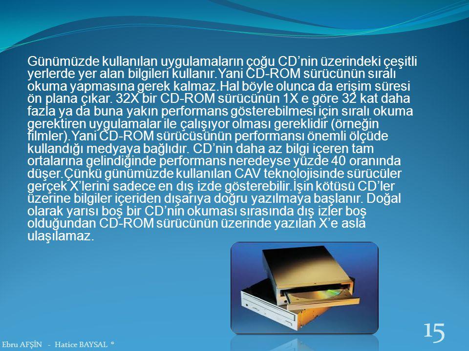 Günümüzde kullanılan uygulamaların çoğu CD'nin üzerindeki çeşitli yerlerde yer alan bilgileri kullanır.Yani CD-ROM sürücünün sıralı okuma yapmasına gerek kalmaz.Hal böyle olunca da erişim süresi ön plana çıkar. 32X bir CD-ROM sürücünün 1X e göre 32 kat daha fazla ya da buna yakın performans gösterebilmesi için sıralı okuma gerektiren uygulamalar ile çalışıyor olması gereklidir (örneğin filmler).Yani CD-ROM sürücüsünün performansı önemli ölçüde kullandığı medyaya bağlıdır. CD'nin daha az bilgi içeren tam ortalarına gelindiğinde performans neredeyse yüzde 40 oranında düşer.Çünkü günümüzde kullanılan CAV teknolojisinde sürücüler gerçek X'lerini sadece en dış izde gösterebilir.İşin kötüsü CD'ler üzerine bilgiler içeriden dışarıya doğru yazılmaya başlanır. Doğal olarak yarısı boş bir CD'nin okuması sırasında dış izler boş olduğundan CD-ROM sürücünün üzerinde yazılan X'e asla ulaşılamaz.