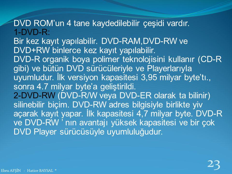 DVD ROM'un 4 tane kaydedilebilir çeşidi vardır