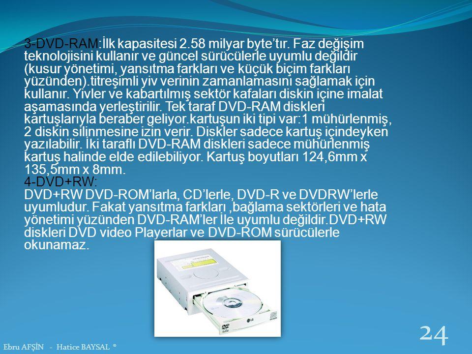 3-DVD-RAM:İlk kapasitesi 2. 58 milyar byte'tır