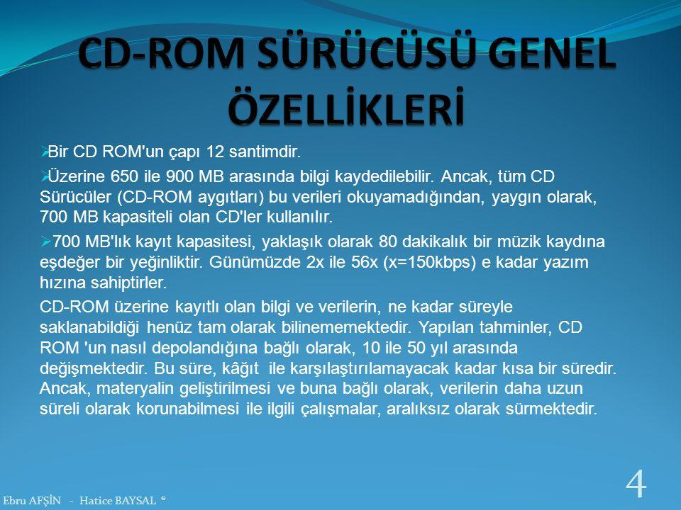CD-ROM SÜRÜCÜSÜ GENEL ÖZELLİKLERİ
