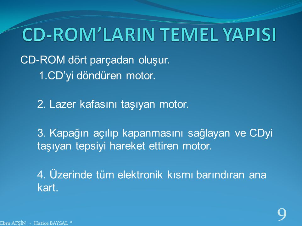 CD-ROM'LARIN TEMEL YAPISI