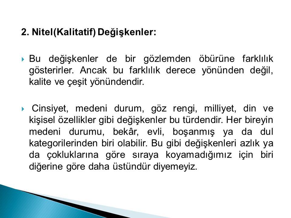 2. Nitel(Kalitatif) Değişkenler: