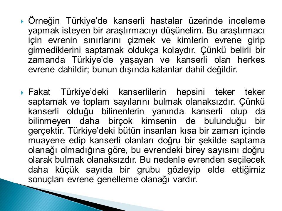 Örneğin Türkiye'de kanserli hastalar üzerinde inceleme yapmak isteyen bir araştırmacıyı düşünelim. Bu araştırmacı için evrenin sınırlarını çizmek ve kimlerin evrene girip girmediklerini saptamak oldukça kolaydır. Çünkü belirli bir zamanda Türkiye'de yaşayan ve kanserli olan herkes evrene dahildir; bunun dışında kalanlar dahil değildir.