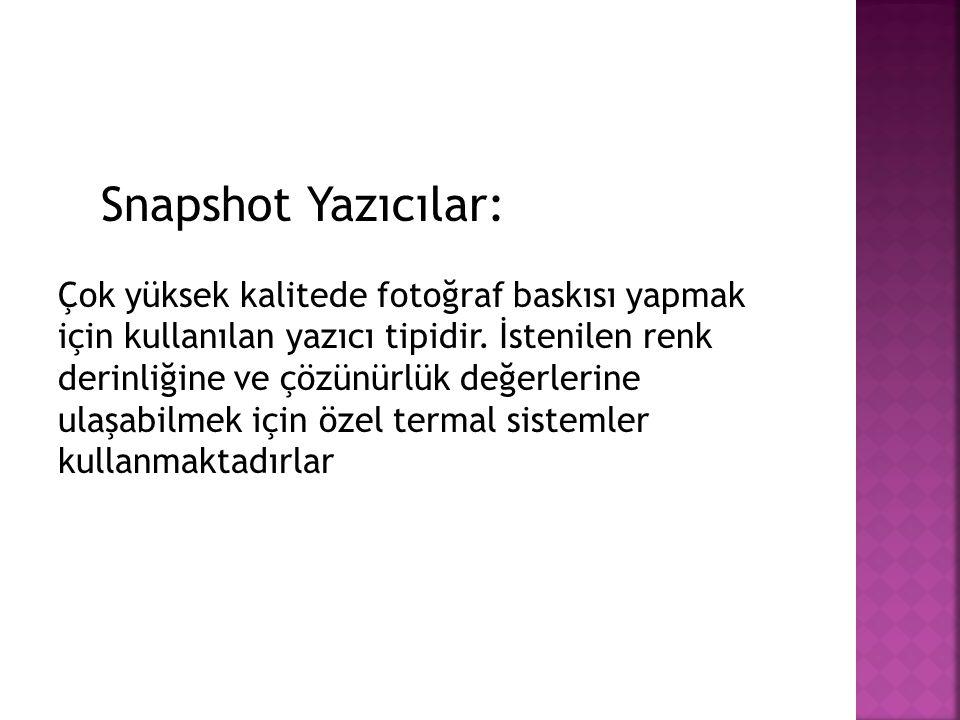 Snapshot Yazıcılar: Çok yüksek kalitede fotoğraf baskısı yapmak için kullanılan yazıcı tipidir.