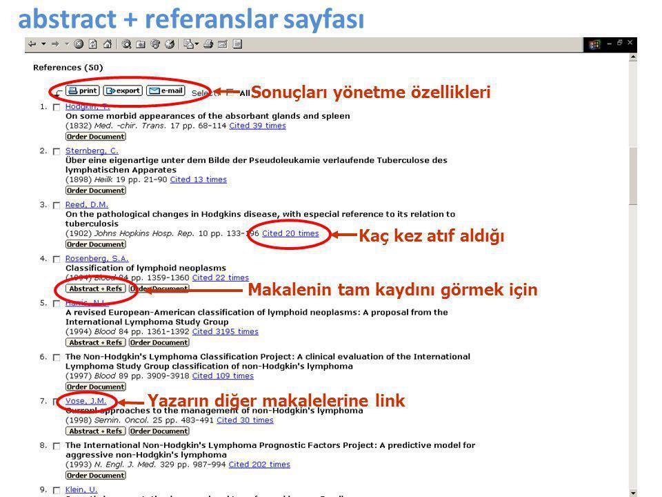 abstract + referanslar sayfası