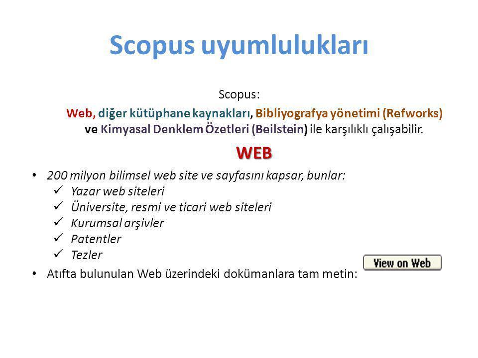 Scopus uyumlulukları WEB Scopus: