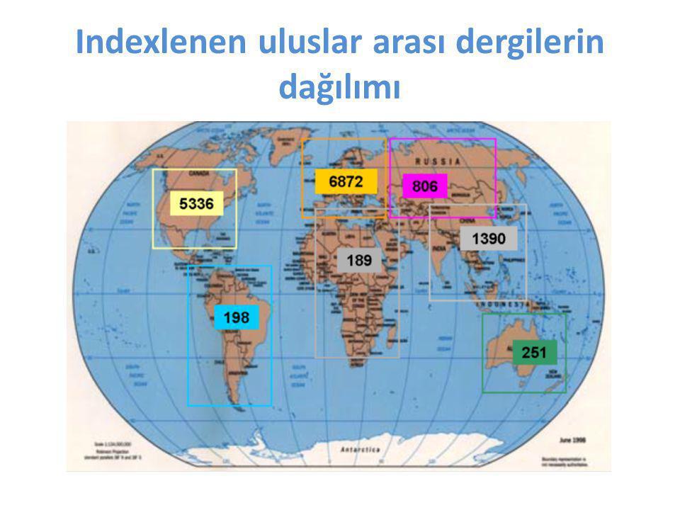 Indexlenen uluslar arası dergilerin dağılımı