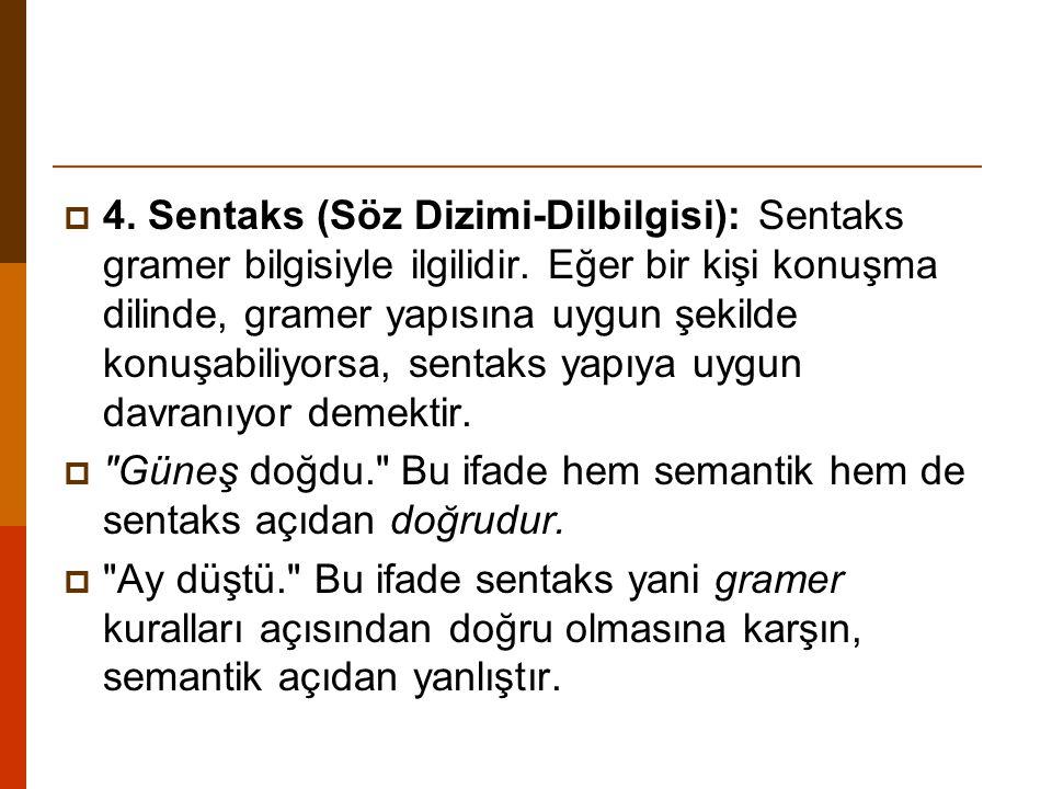 4. Sentaks (Söz Dizimi-Dilbilgisi): Sentaks gramer bilgisiyle ilgilidir. Eğer bir kişi konuşma dilinde, gramer yapısına uygun şekilde konuşabiliyorsa, sentaks yapıya uygun davranıyor demektir.
