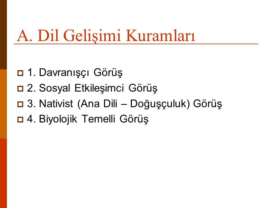 A. Dil Gelişimi Kuramları