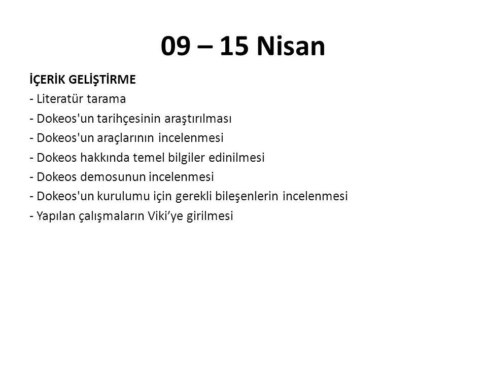 09 – 15 Nisan