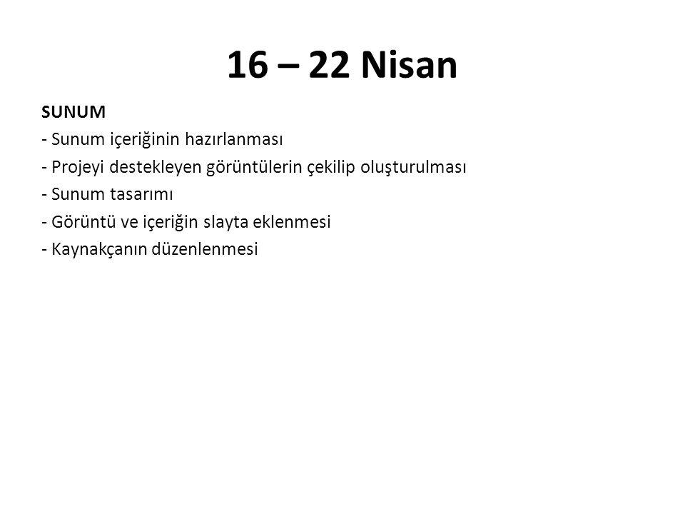 16 – 22 Nisan
