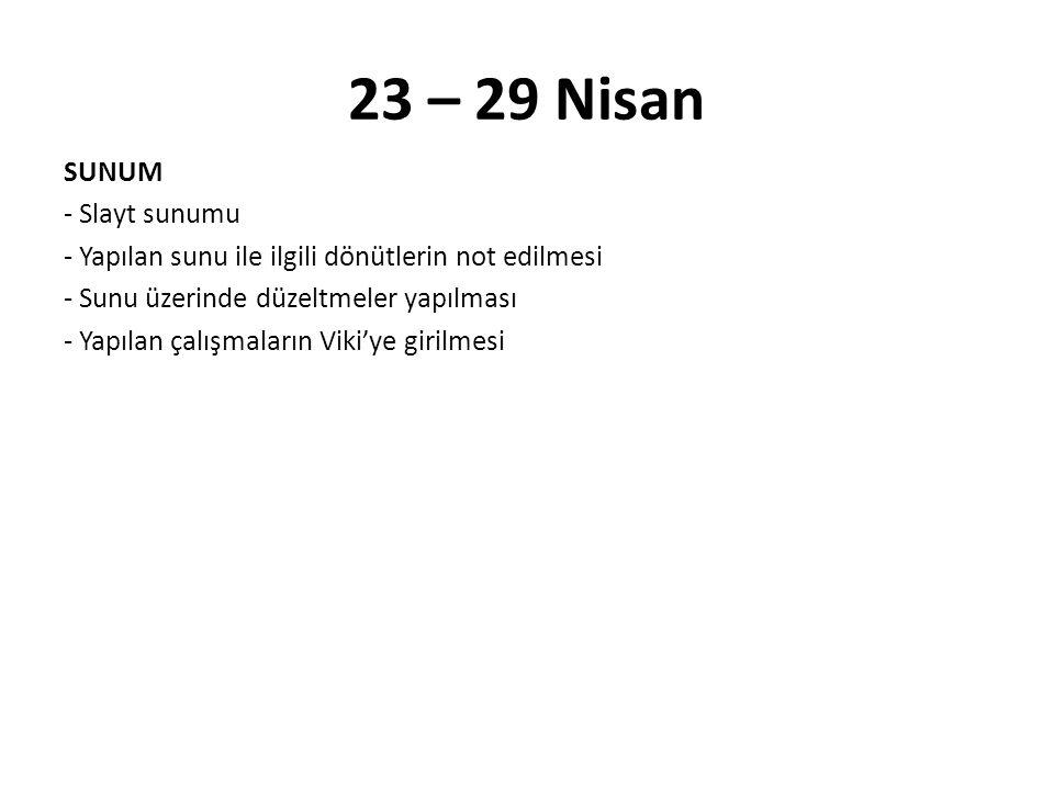 23 – 29 Nisan