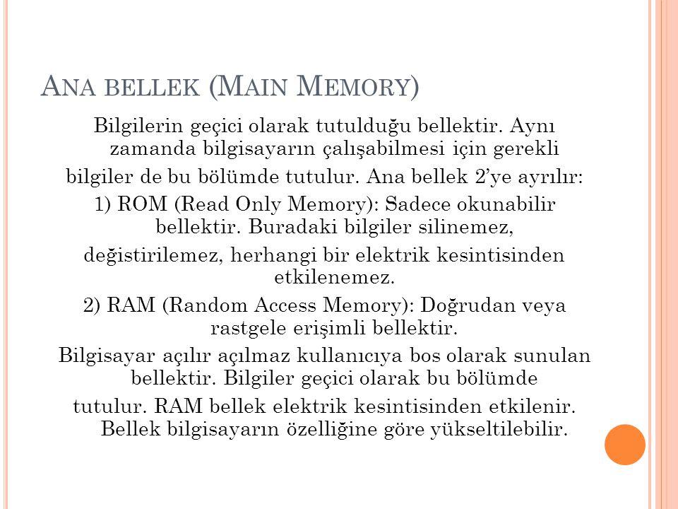 Ana bellek (Main Memory)