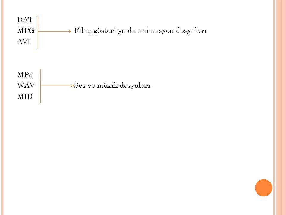 DAT MPG Film, gösteri ya da animasyon dosyaları AVI MP3 WAV Ses ve müzik dosyaları MID