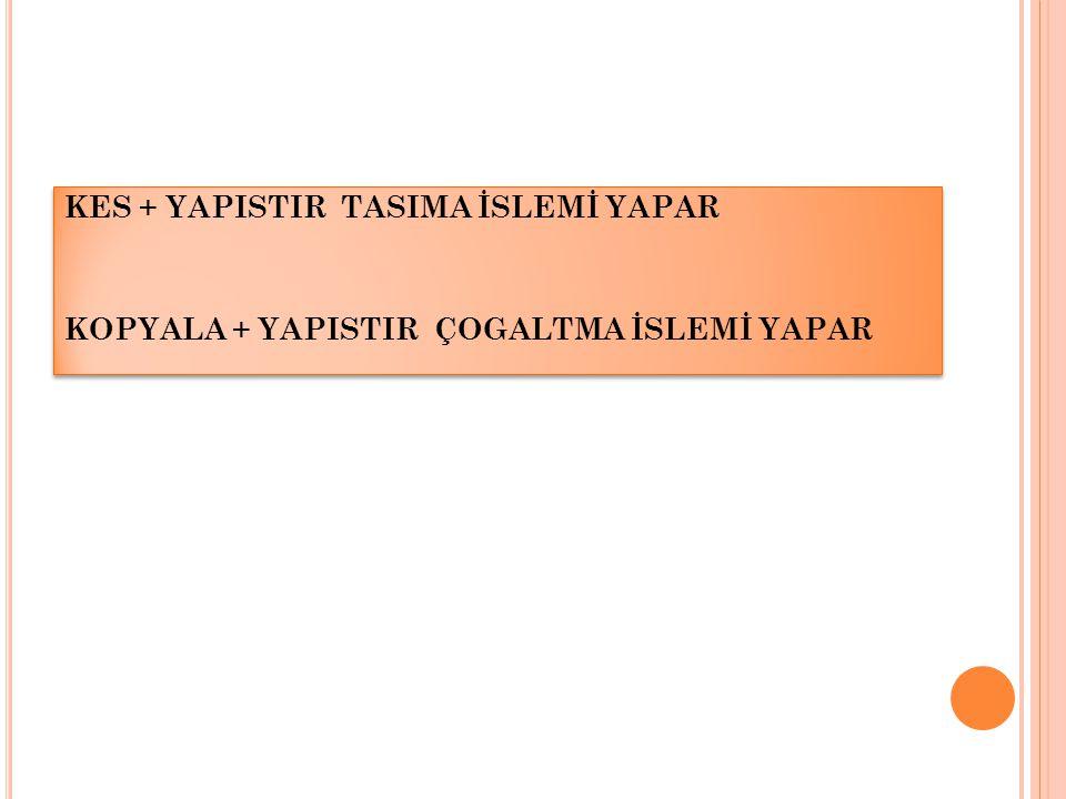 KES + YAPISTIR TASIMA İSLEMİ YAPAR KOPYALA + YAPISTIR ÇOGALTMA İSLEMİ YAPAR