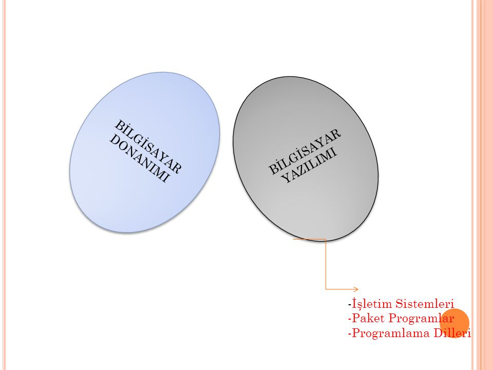 BİLGİSAYAR DONANIMI BİLGİSAYAR YAZILIMI -İşletim Sistemleri -Paket Programlar -Programlama Dilleri