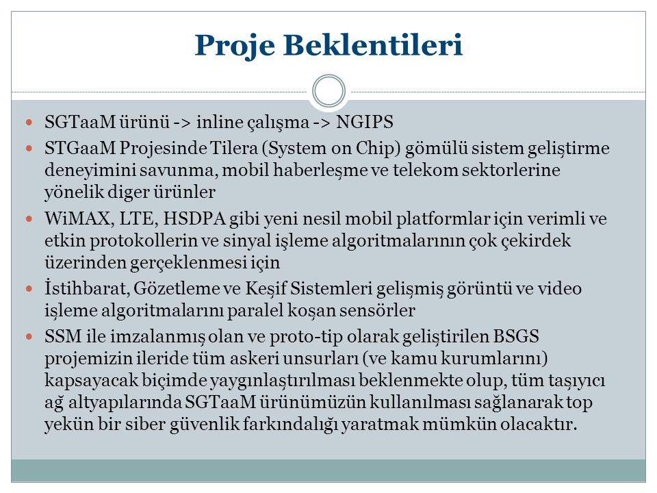 Proje Beklentileri SGTaaM ürünü -> inline çalışma -> NGIPS