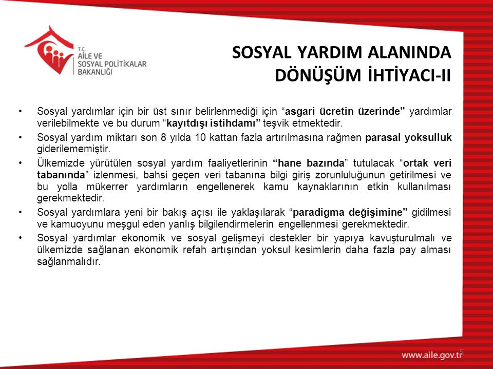 SOSYAL YARDIM ALANINDA DÖNÜŞÜM İHTİYACI-II