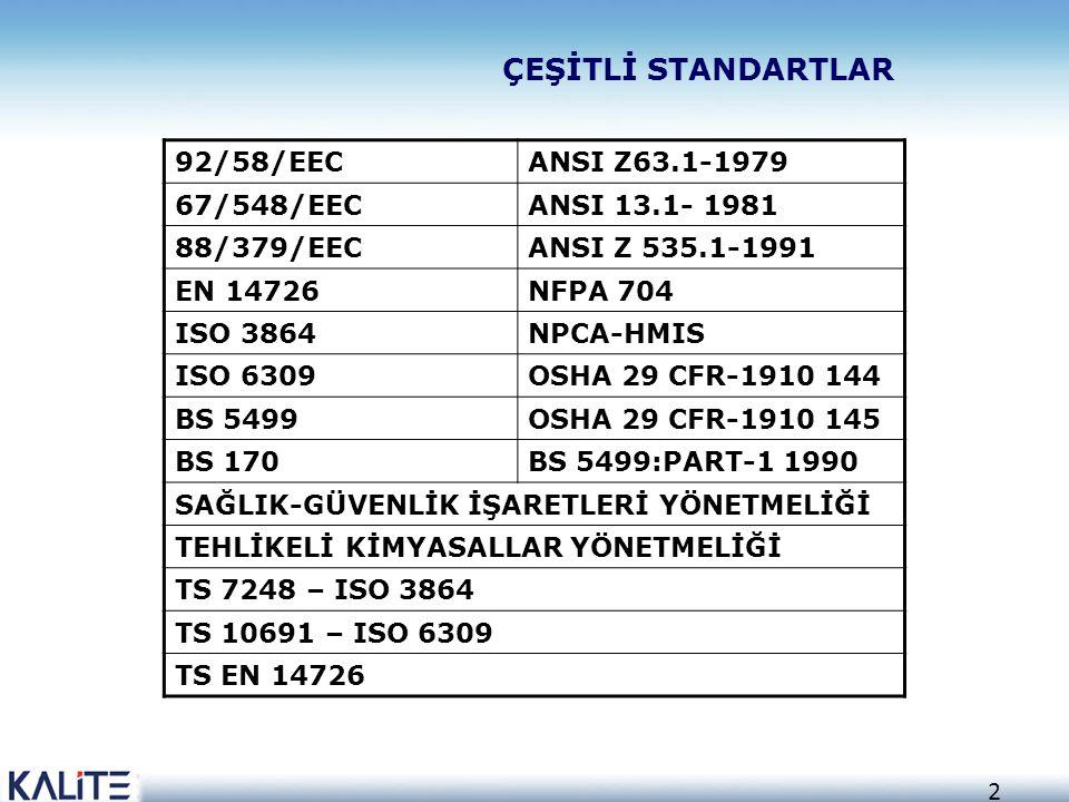 ÇEŞİTLİ STANDARTLAR 92/58/EEC ANSI Z63.1-1979 67/548/EEC