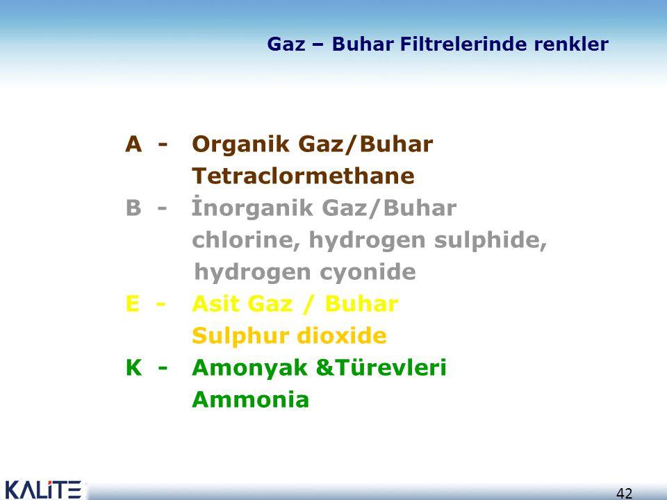 B - İnorganik Gaz/Buhar chlorine, hydrogen sulphide, hydrogen cyonide