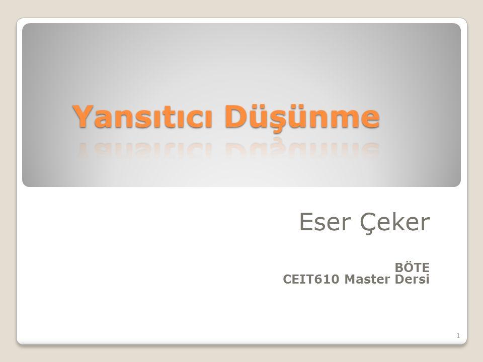 Eser Çeker BÖTE CEIT610 Master Dersi