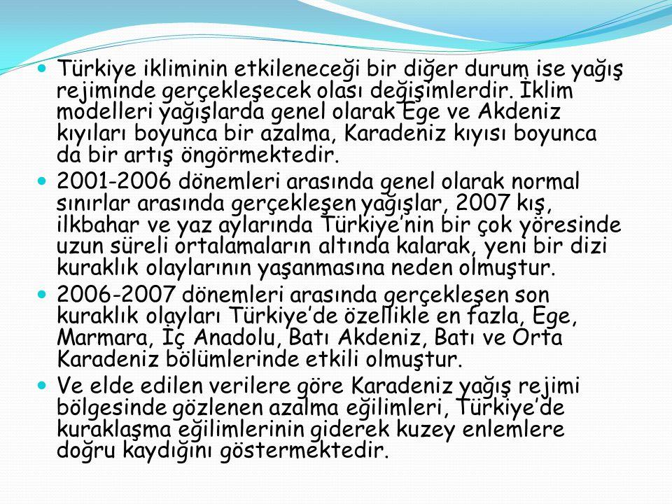 Türkiye ikliminin etkileneceği bir diğer durum ise yağış rejiminde gerçekleşecek olası değişimlerdir. İklim modelleri yağışlarda genel olarak Ege ve Akdeniz kıyıları boyunca bir azalma, Karadeniz kıyısı boyunca da bir artış öngörmektedir.