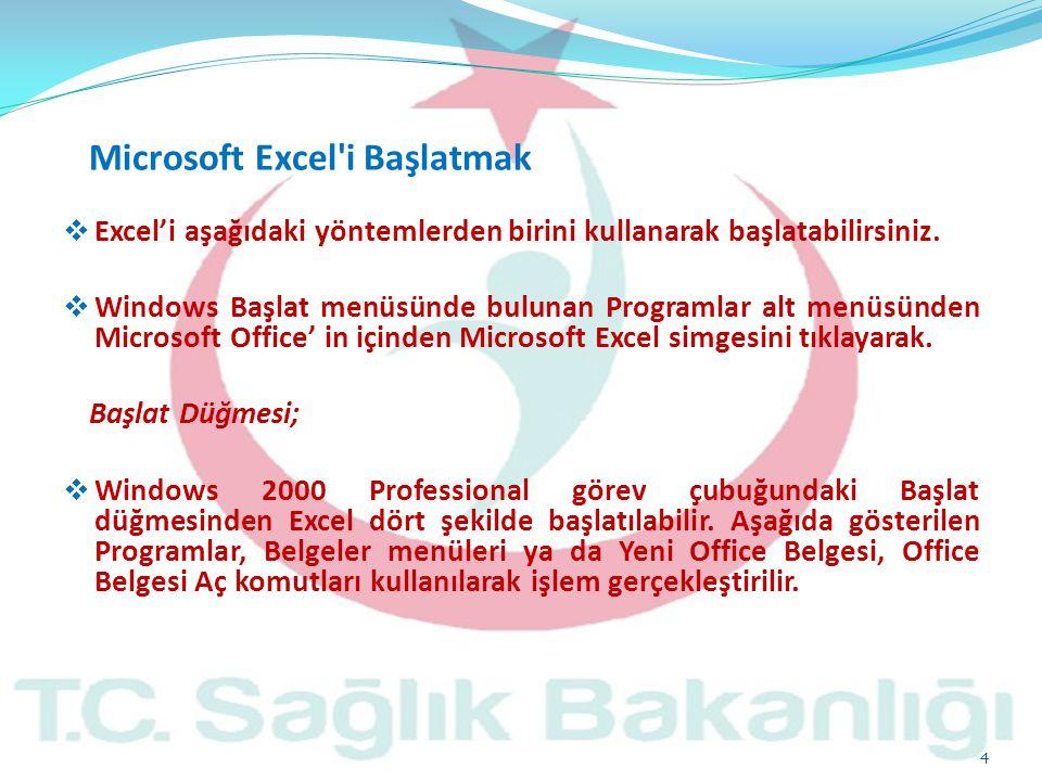 Excel'i aşağıdaki yöntemlerden birini kullanarak başlatabilirsiniz.