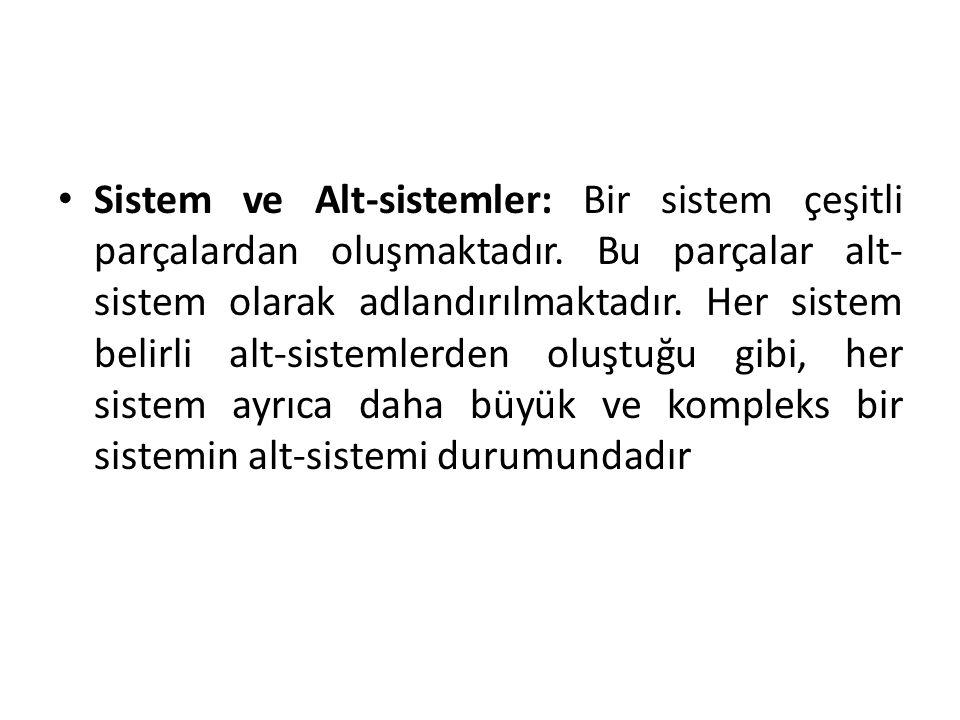 Sistem ve Alt-sistemler: Bir sistem çeşitli parçalardan oluşmaktadır