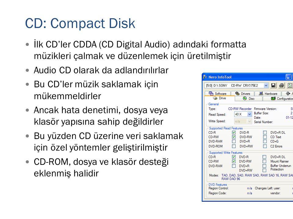 CD: Compact Disk İlk CD'ler CDDA (CD Digital Audio) adındaki formatta müzikleri çalmak ve düzenlemek için üretilmiştir.