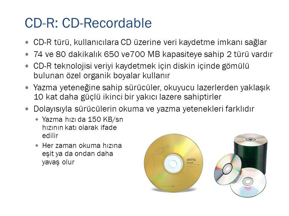 CD-R: CD-Recordable CD-R türü, kullanıcılara CD üzerine veri kaydetme imkanı sağlar. 74 ve 80 dakikalık 650 ve700 MB kapasiteye sahip 2 türü vardır.