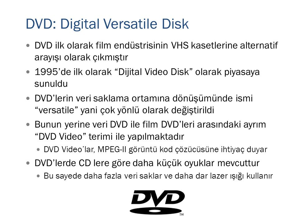 DVD: Digital Versatile Disk