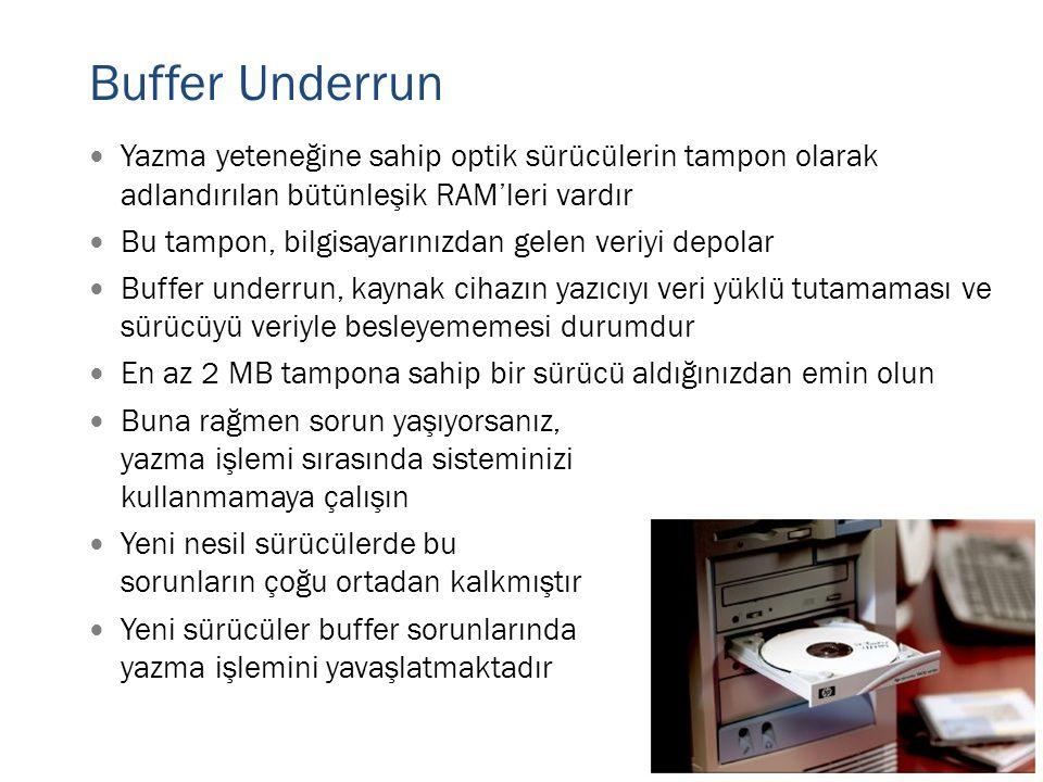 Buffer Underrun Yazma yeteneğine sahip optik sürücülerin tampon olarak adlandırılan bütünleşik RAM'leri vardır.