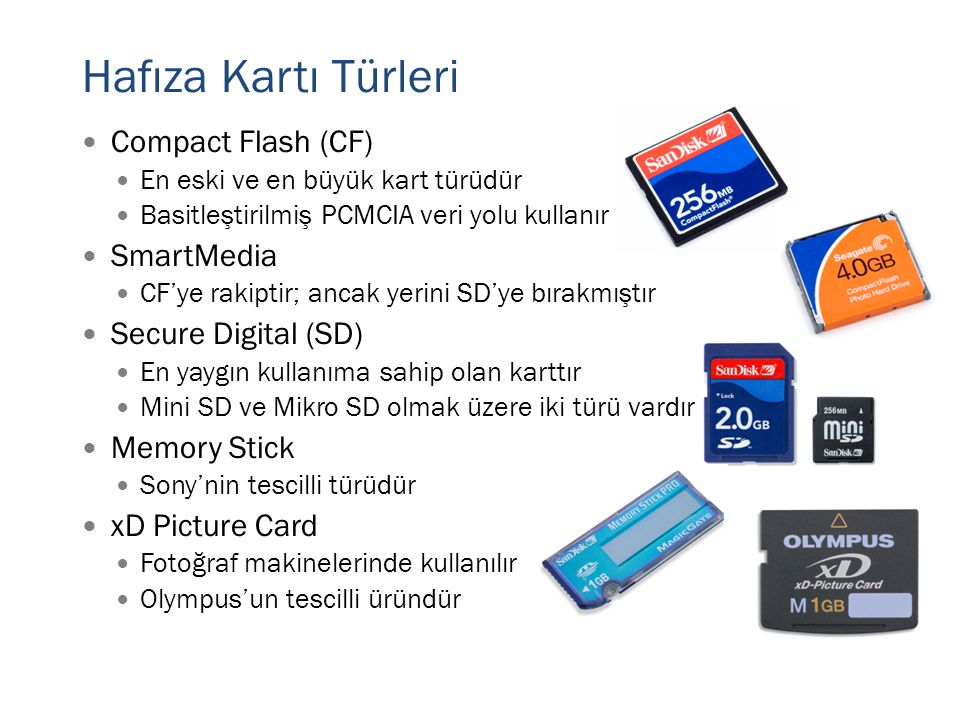 Hafıza Kartı Türleri Compact Flash (CF) SmartMedia Secure Digital (SD)