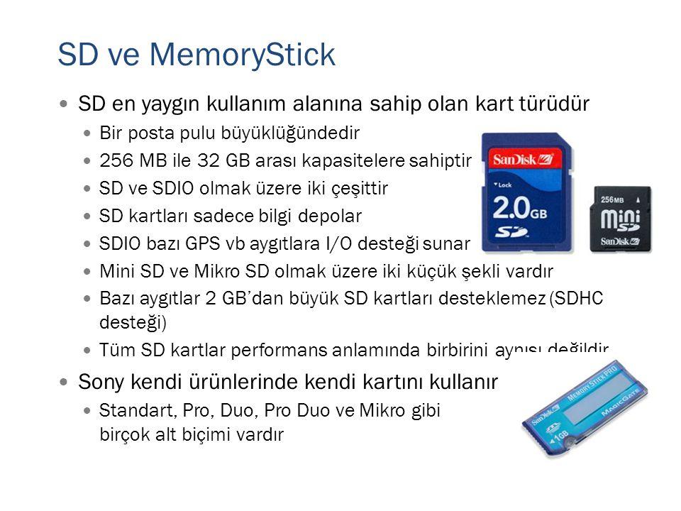 SD ve MemoryStick SD en yaygın kullanım alanına sahip olan kart türüdür. Bir posta pulu büyüklüğündedir.