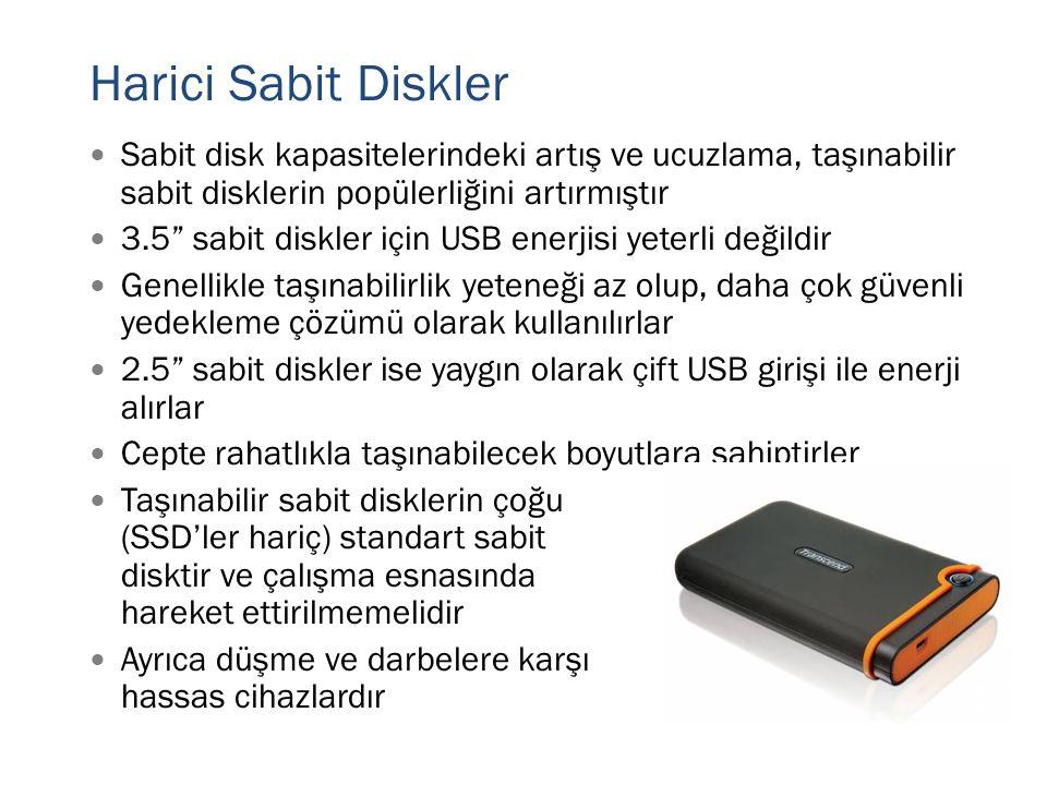 Harici Sabit Diskler Sabit disk kapasitelerindeki artış ve ucuzlama, taşınabilir sabit disklerin popülerliğini artırmıştır.